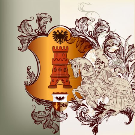 Heraldic design element in vintage style