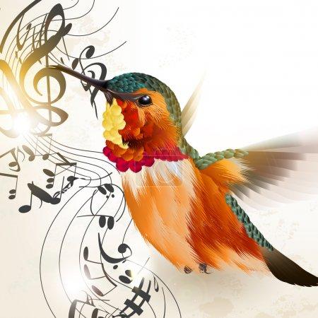 Illustration pour Illustration vectorielle avec oiseau colibri réaliste et notes pour le design - image libre de droit