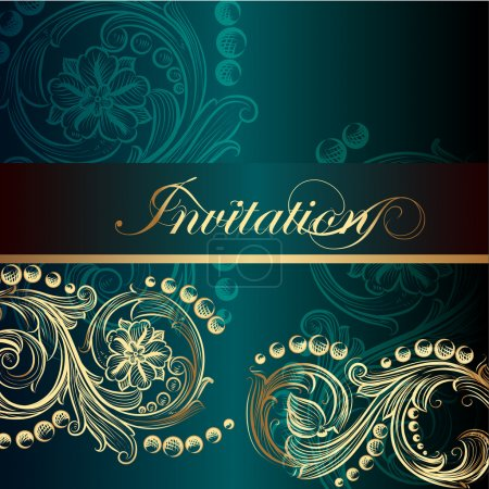 Elegant invitation card with floral elements