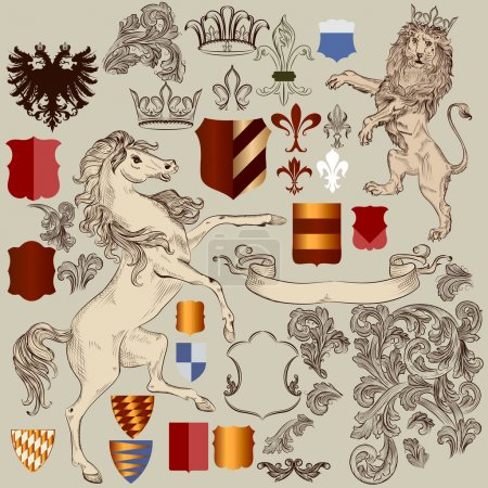 Collection of vector hand drawn heraldic elements in vintage sty