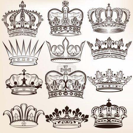 Illustration pour Ensemble vectoriel de couronnes pour votre design héraldique - image libre de droit