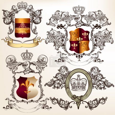 Vector set of detailed heraldic design with coat of arms and shi