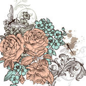 Grunge vector background with roses flowers for design