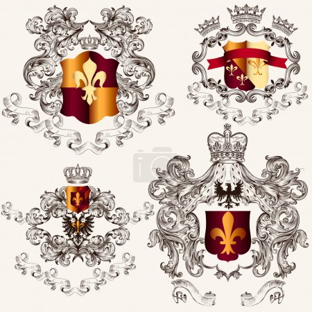 Collection of vector heraldic shields in vintage style