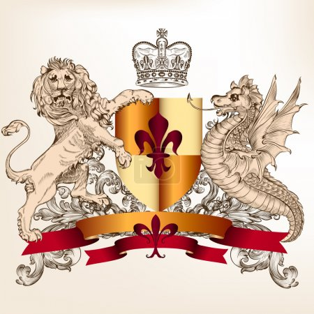 Heraldic design with shield lion and dragon for vintage design