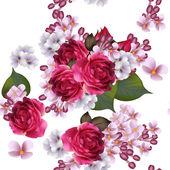 """Постер, картина, фотообои """"бесшовные цветочные векторные обои с цветами сирени и роз"""""""