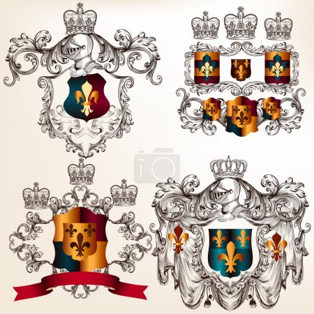 Set of vector heraldic design elements with coat of arms in vin