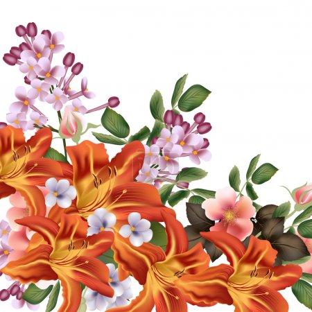 Ilustración de Lirio anaranjado amarillo Vector con rosas y lilas aislado en blanco para el diseño - Imagen libre de derechos