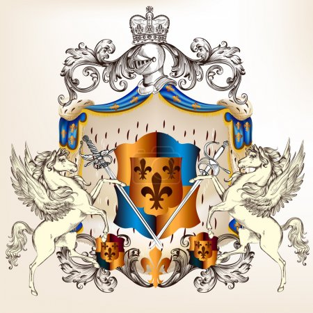 Heraldic design with coat of arms, shield and horses
