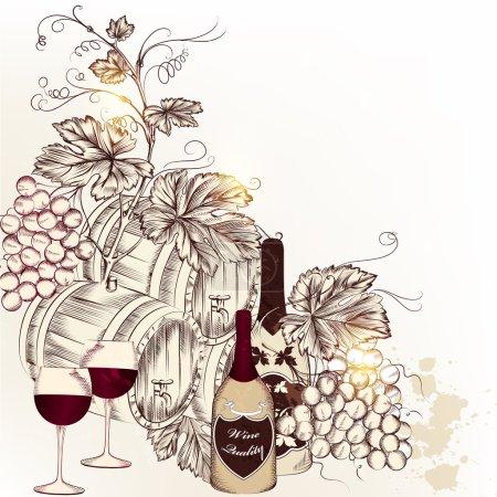 Illustration pour Illustration vectorielle avec vin et raisin - image libre de droit