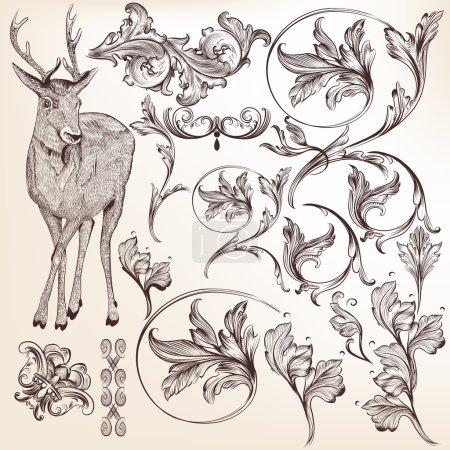 Illustration pour Ensemble vectoriel d'éléments calligraphiques pour la conception. Vecteur calligraphique - image libre de droit