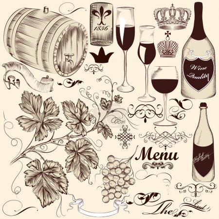 Illustration pour Ensemble vectoriel d'éléments décoratifs dessinés à la main dans un style vintage - image libre de droit