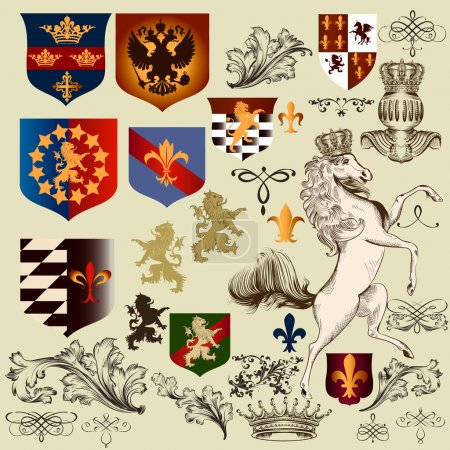 Collection of  vector heraldic decorative elements fleur de lis,