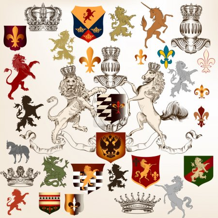 Collection of heraldic decorative elements fleur de lis, shields