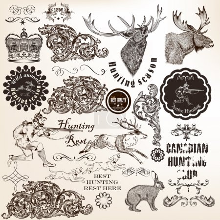 Set of vector decorative hunting and floral elements in vintage