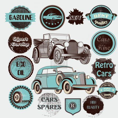 Vector set of retro labels cars and badges
