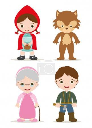Photo pour Petits personnages de capuche rouge du conte - image libre de droit