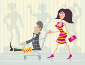 Charming woman with good buy in the trolley during big sale Editable layered vector EPS 10 file transparency are used in shadows and reflections