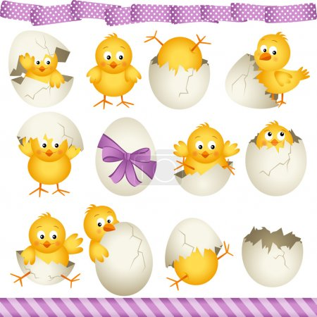 Illustration for Scalable vectorial image representing a easter eggs chicks, isolated on white. - Royalty Free Image