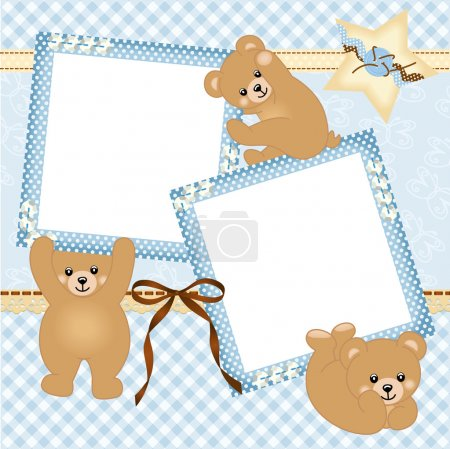 Illustration for Scalable vectorial image representing a baby boy photo frame with teddy bear, isolated on white. - Royalty Free Image