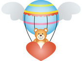 Scalable vectorial image representing a teddy bear in a hot air balloon with angel wings isolated on white