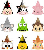 Scalable vectorial image representing a animal party hats isolated on white