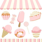 Scalable vectorial image representing a candy shop digital collage isolated on white