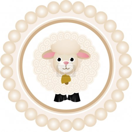 Cute Sheep Round Label