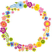 Scalable vectorial image representing a round spring flower frame isolated on white