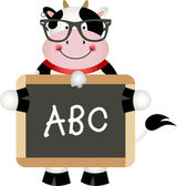 Scalable vectorial image representing a funny cow teacher with tableau abc isolated on white