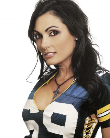 Sexy happy woman in football top