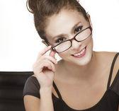 Atraktivní mladá podnikatelka na telefonu