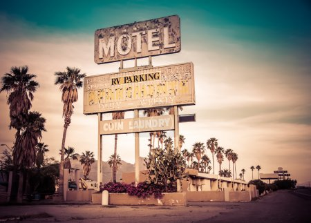 Roadside motel retro style motel sign