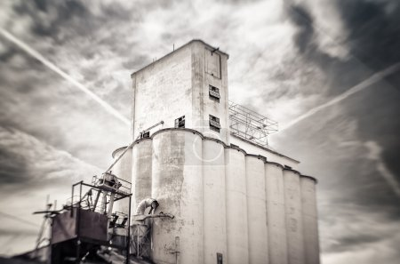 Tilt shift photo of old obsolete flour grain silo, Mesa, Arizona
