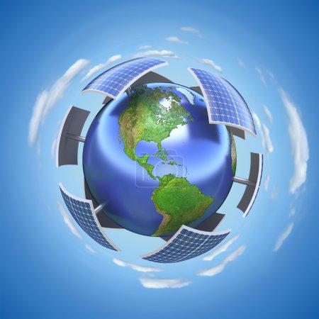 Foto de Concepto 3D con tierra y paneles solares - Imagen libre de derechos