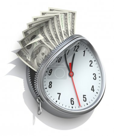 Photo for 3D concept with wall clock and money - Royalty Free Image