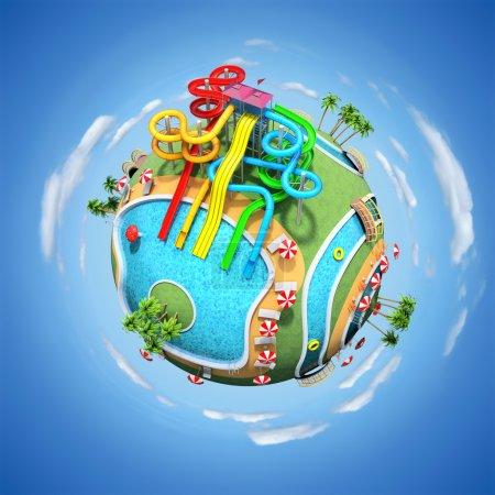 Photo pour Illustration 3D du parc aquatique sur le globe - image libre de droit