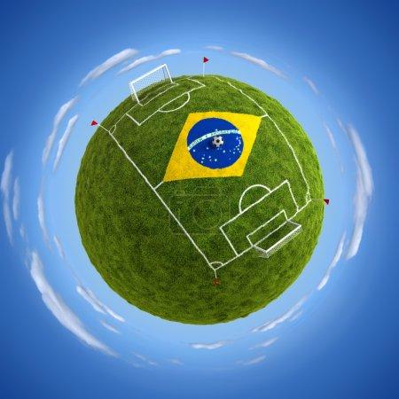 Stadium with Brazil flag