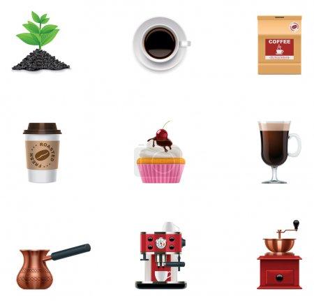 Illustration pour Ensemble d'icônes détaillées liées au café - image libre de droit