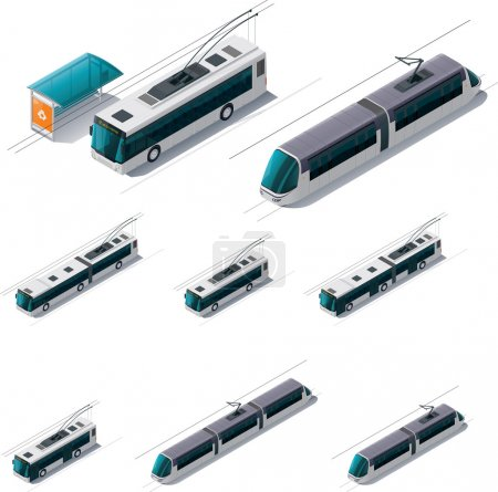 Illustration for Set of detailed isometric trolleybuses and tramways - Royalty Free Image