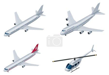 Illustration pour Ensemble d'avions et d'hélicoptères génériques détaillés - image libre de droit