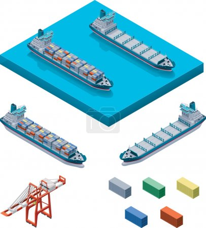 Illustration for Detailed container vessel, crane and containers - Royalty Free Image