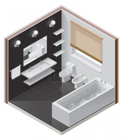 Illustration for Detailed isometric cutaway icon representing modern bathroom - Royalty Free Image