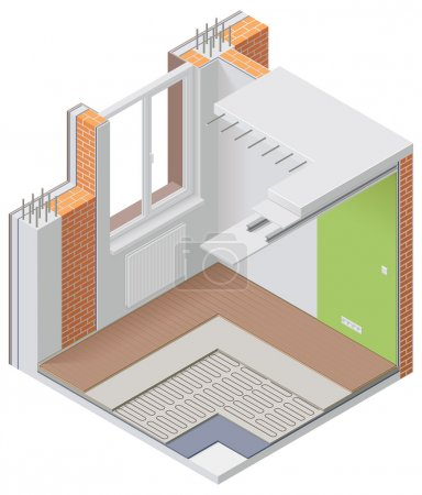 Vector isometric apartment cutaway icon