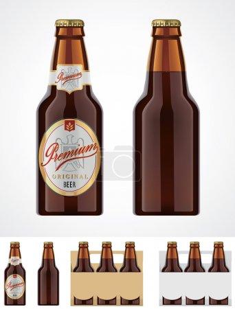 Illustration pour Bouteille de verre brun détaillée de bière. peut être utilisé comme modèle pour étiquettes - image libre de droit