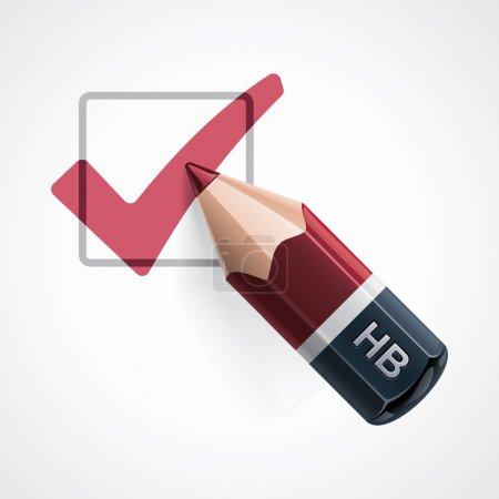 Illustration pour Icône détaillée représentant crayon rouge et case à cocher remplie de cocher - image libre de droit