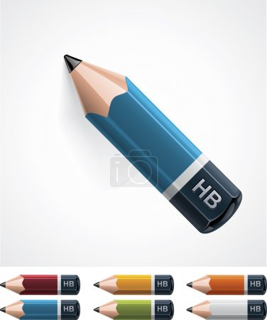 Illustration for Set of detailed pencils in different colors - Royalty Free Image