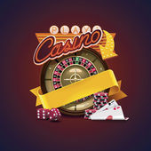 Detailed icon representing casino roulette dices cards with neon sign and empty ribbon for your text