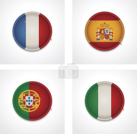 Vector flags of countries as fabric badges