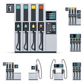 Set of the different gas station pumps